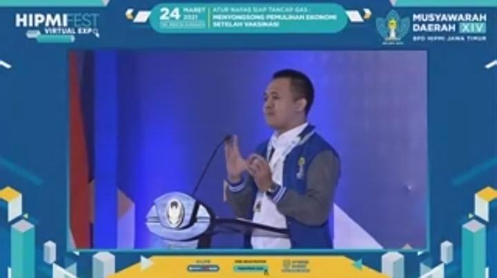 (Ketua BPD HIPMI Jatim, Mufti Anam saat menyampaikan sambutan perpisahannya. / Foto: screenshoot Zoom )