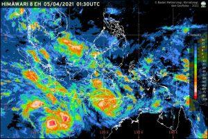 Prakiraan cuaca dari BMKG tentang dua bibit siklon tropis yang dapat berdampak pada cuaca ekstrem. (Istimewa/ BMKG)