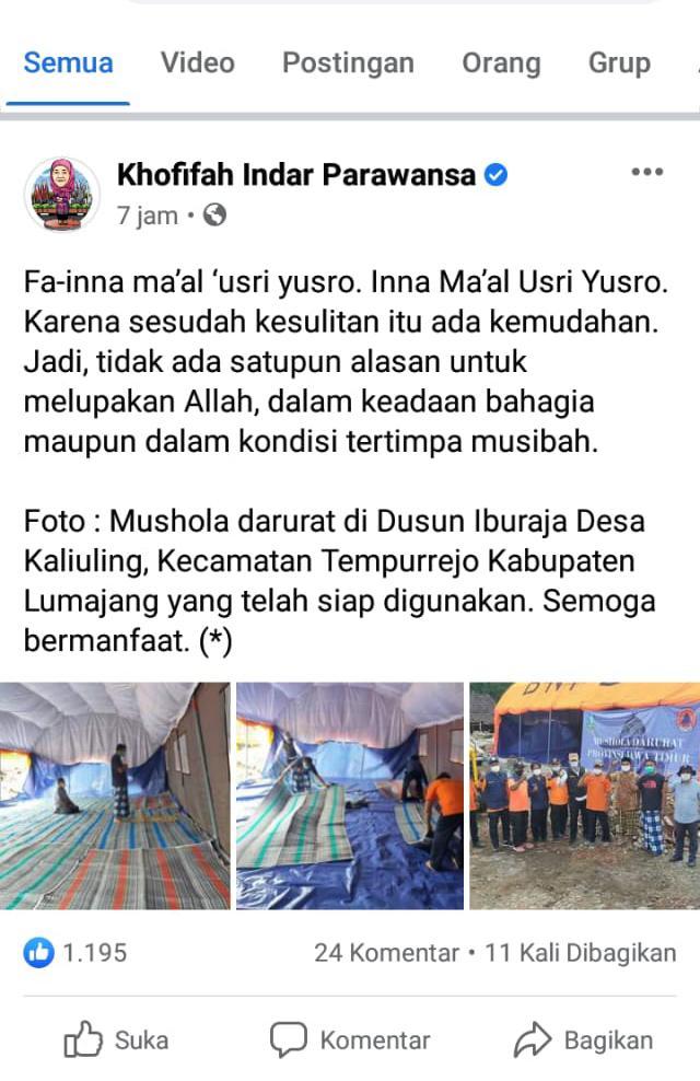 Foto: Unggahan Gubernur Khofifah yang berisi pesan untuk memberi semangat berbagi sesama warga. (Istimewa/ Facebook)