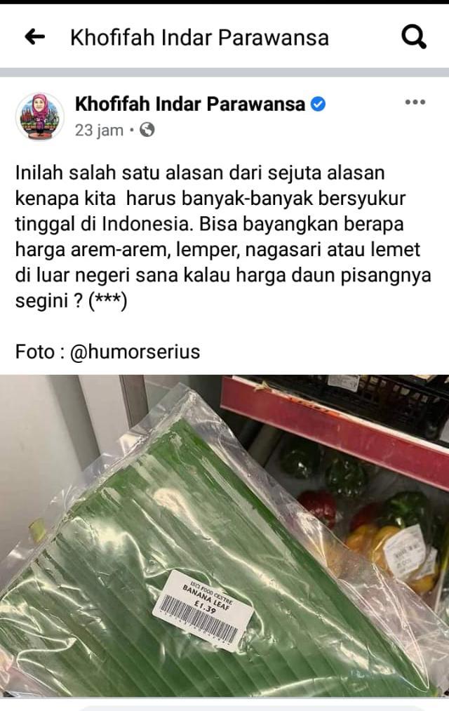 Postingan Gubernur Jatim, Khofifah soal daun pisang. (Istimewa/ Akun FB Khofifah)