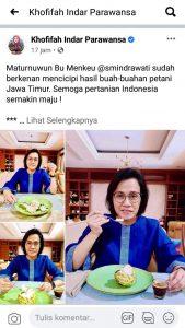 Gubernur Jatim, Khofifah Indar Parawansa mengunggah ulang postingan Menkeu SMI disertai ucapan terima kasih. (Istimewa/ Akun FB Khofifah )