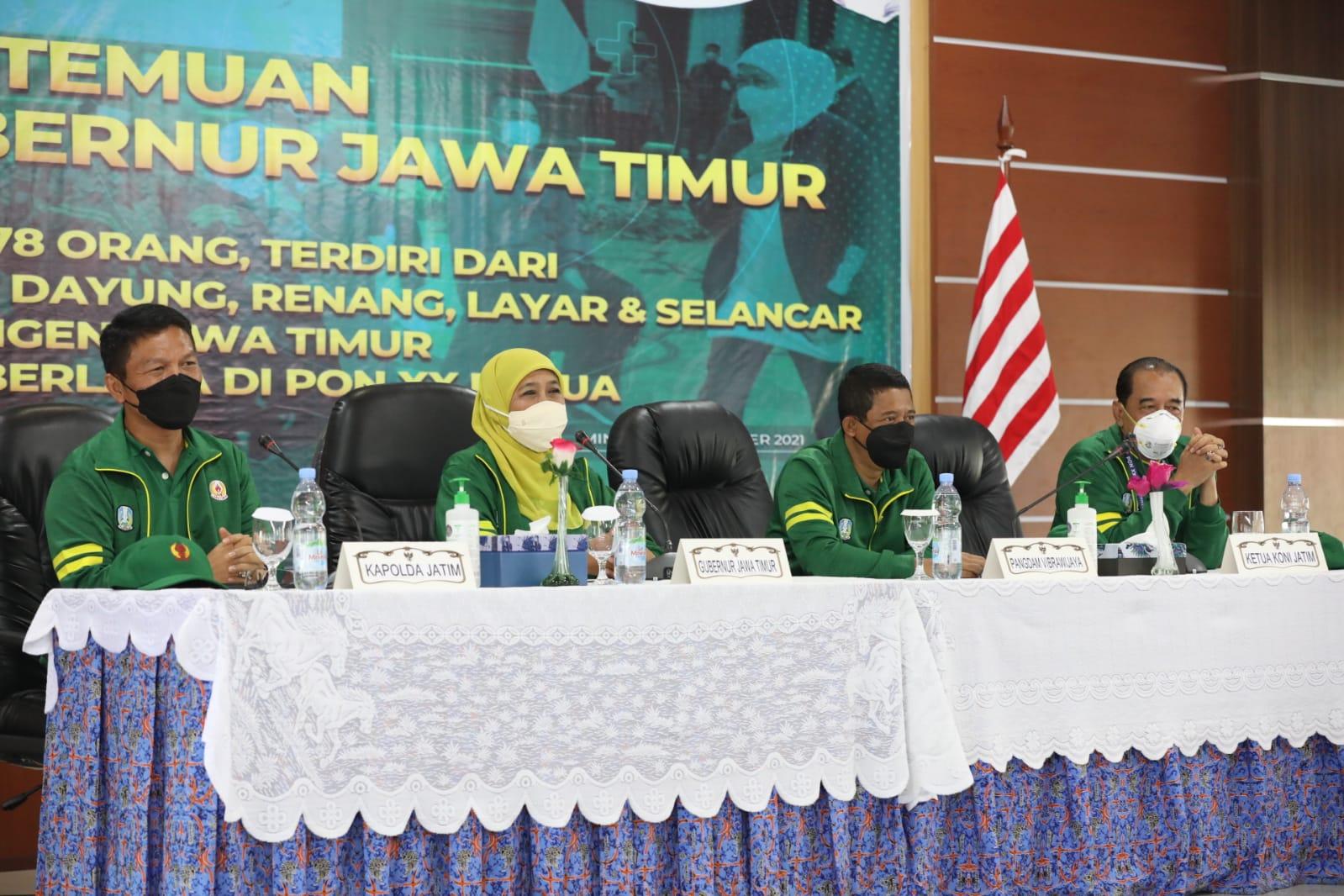 Datang Ke Papua, Forkompimda Jatim Pompa Semangat Juang Para Atlit Jatim. Gubernur Khofifah : Jaga Persaudaraan, Raih Prestasi, Bawa Medali Emas Sebanyak-banyaknya